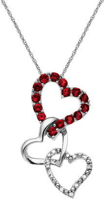 Lord & Taylor 14Kt. White Gold Ruby & Diamond Heart Pendant Necklace