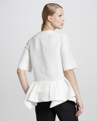 Marni Half-Sleeve Peplum Jacket, Lily White