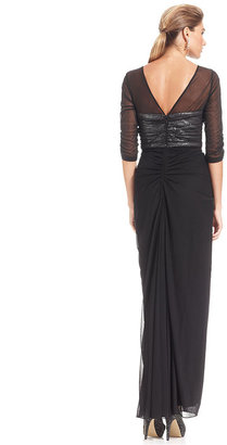 Adrianna Papell Three-Quarter-Sleeve Sequin Ruched Gown