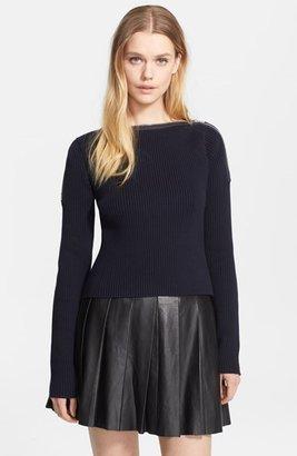 Alexander Wang Zip Shoulder Ribbed Sweater