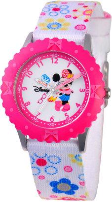 Disney Watch, Kid's Minnie Mouse Time Teacher Printed Nylon Strap 31mm W000360