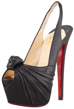 Christian Louboutin Miss Benin Leather Knotted Platform Red Sole Slingback, Black