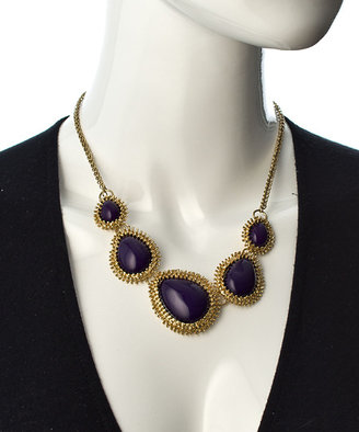 Blu Bijoux Purple And Gold Teardrop Bib Necklace