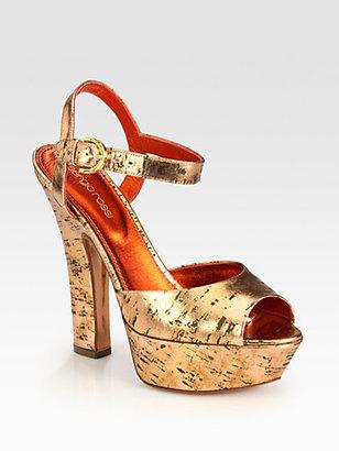Sergio Rossi Metallic Cork Platform Sandals