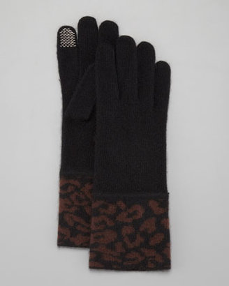 Portolano Cashmere Leopard-Cuff Tech Gloves, Black/Chocolate