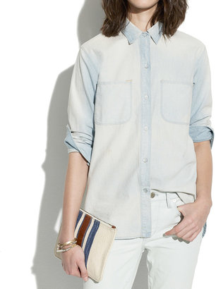 Madewell Perfect Chambray Ex-Boyfriend Shirt in Ferrous Wash