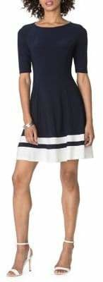Chaps Two-Tone Fit--Flare Jersey Dress
