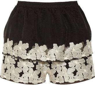 Anna Sui Embroidered chiffon shorts