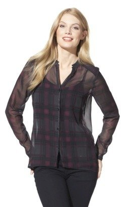Mossimo Women's High-Low Plaid Tunic Blouse -Bloodstone/Black