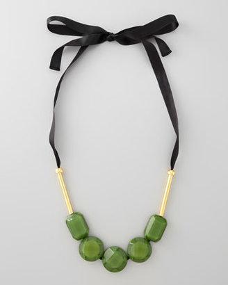 Marni Resin Bead Ribbon Necklace, Garden Green