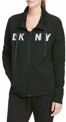 DKNY Stand Collar Zip Sweater