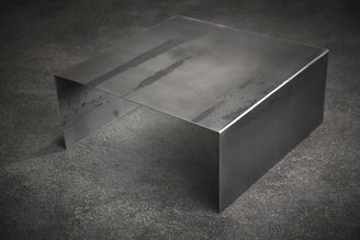 2Modern John Beck Paper & Steel Raw Steel Square Coffee Table