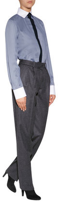Vanessa Bruno Wool High-Waisted Pinstripe Pants in Anthracite