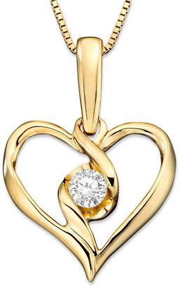 Sirena 14k Gold Necklace, Diamond Heart Pendant (1/5 ct. t.w.)