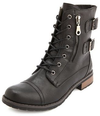Charlotte Russe Side-Zip Lace-Up Combat Boot
