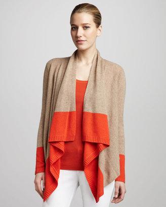 Magaschoni Colorblock Draped Cashmere Cardigan