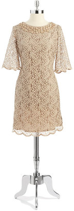 Adrianna Papell Lace Shift Dress with Beaded Collar