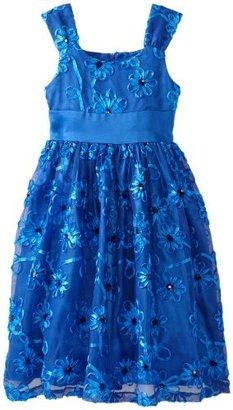 Bonnie Jean Girls 7-16 Blue Bonaz Mesh Dress