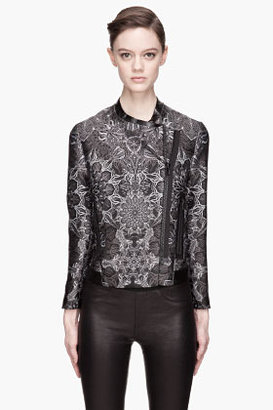 Helmut Lang Grey patterned leather-trimmed Medallion Jacquard Jacket