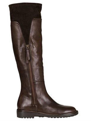 Alberto Fermani 30mm Suede & Calfskin Tall Boots