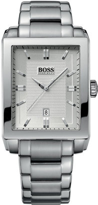 HUGO BOSS Men's Stainless Steel Rectangular Watch