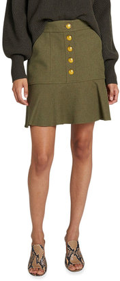 A.L.C. Marnell Button-Front Flounce Skirt