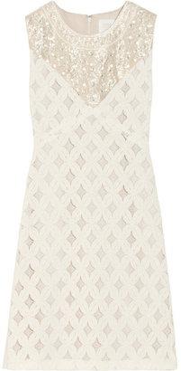 Anna Sui Embellished cotton-blend lace dress