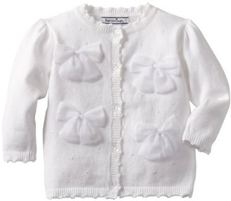 Hartstrings Baby-Girls Infant Cotton Long Sleeve Ribbon Bows On Front Cardigan Sweater