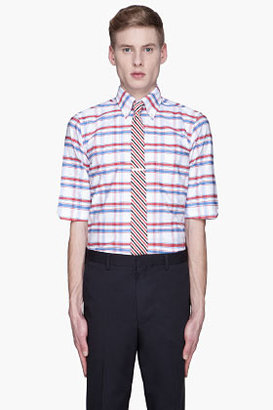 Thom Browne Blue and red oxford checked shirt