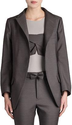 Jil Sander Reagan Long Wool-Silk Blazer