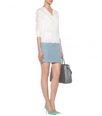 Nina Ricci Lace-trimmed silk and cotton-blend cardigan