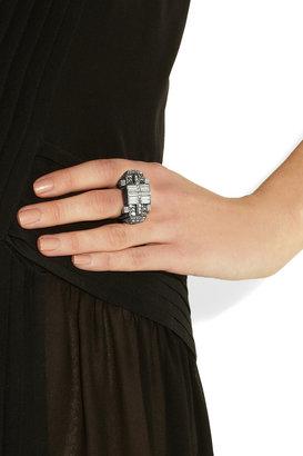 Lanvin Dedale silver-tone Swarovski crystal ring