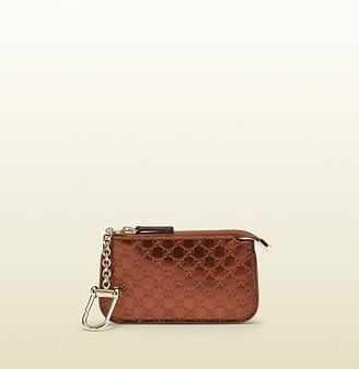 Gucci Burnt Orange Shiny Micro Gg Leather Clip Key Case