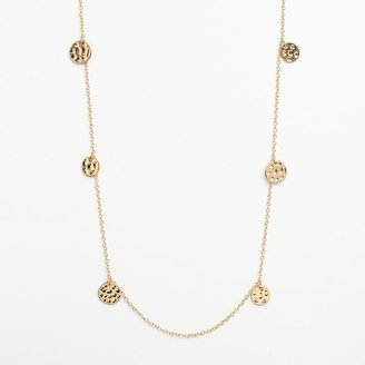Daisy fuentes ® hammered disc long station necklace