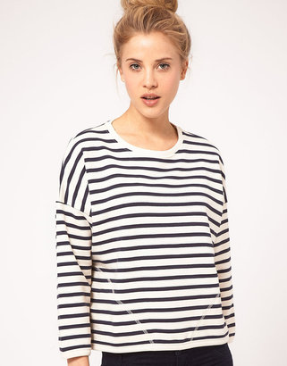Asos Sweatshirt in Stripe with Pockets