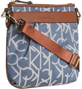 Calvin Klein Hudson Jacqurad Crossbody (Denim Twill/Luggage Saffiano) - Bags and Luggage