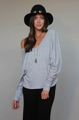 Blue Life V-Neck with Cocoon Sleeves in Heather Grey