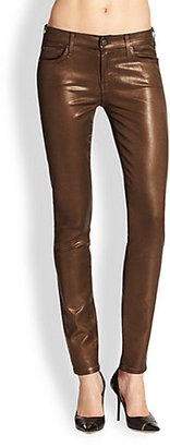 7 For All Mankind The Skinny Contour Waistband Coated Jeans