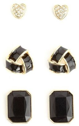 Charlotte Russe Heart, Knot & Rhinestone Stud Earring Set