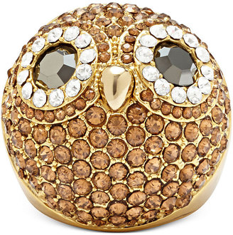 Fossil Gold-Tone Crystal Pave Dome Owl Ring