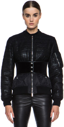 Givenchy Padded Acrylic-Blend Bomber Jacket with Corset Belt in Black