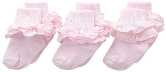 Jefferies Socks Girls 2-6X Misty Ruffle Turn Cuff 3 Pair Pack Socks