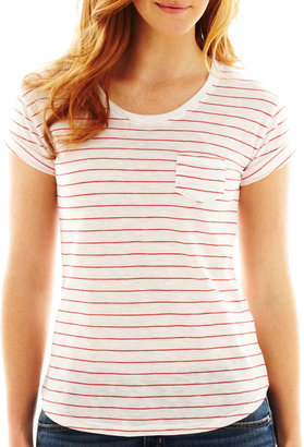 JCPenney A.N.A a.n.a Scoopneck Pocket Tee