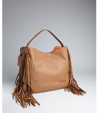 Prada brown pebbled leather tassel trim shoulder bag