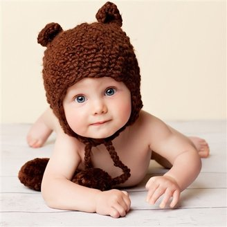 Blueberry Hill - Infant 'Sam' Brown Bear Hat with Earflaps and Pom Poms - Brown