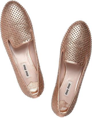 Miu Miu Studded leather slippers