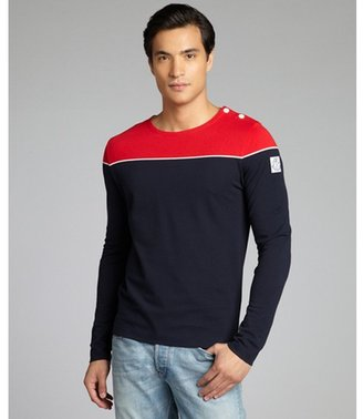 Moncler Gamme Bleu red and navy cotton piqué long sleeve colorblock t-shirt