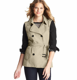 LOFT Contrast Sleeve Cotton Canvas Trench