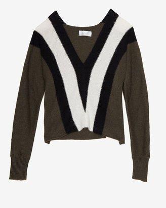A.L.C. Tri-color Branch V Neck Sweater