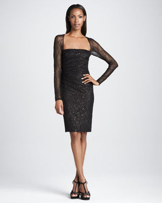 David Meister Long-Sleeve Sequined Cocktail Dress